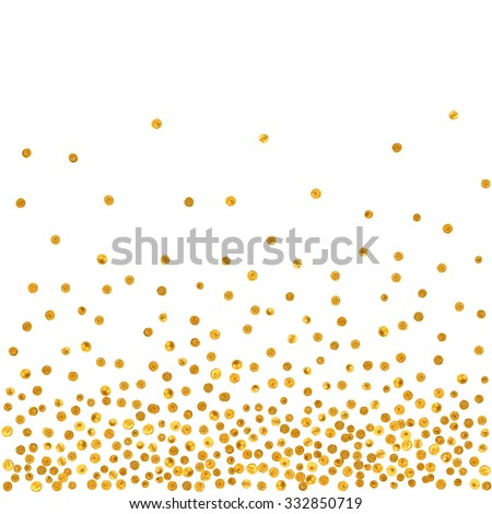 Abstract pattern of random falling golden dots on white  background. Elegant pattern for background, textile, paper packaging and other design. Vector illustration. - stock vector