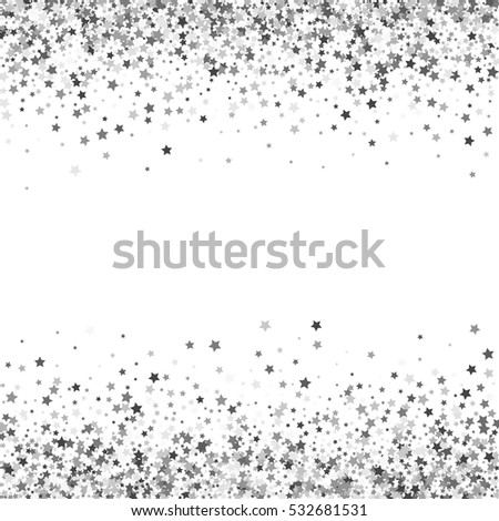 Abstract pattern random falling silver stars stock vector abstract pattern of random falling silver stars on white background glitter template for banner stopboris Images