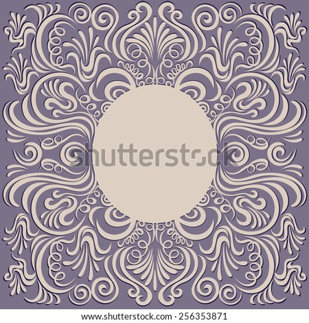 Abstract pattern swirl doodle style Frame vintage background decorative floral elements  - stock vector