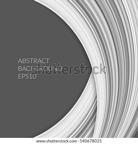 Abstract pattern with a plurality of curved lines on a dark gray background. Monochrome image.