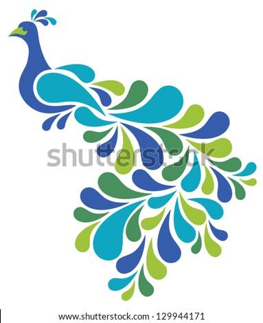 Abstract Peacock illustration of a retro-style bird. - stock vector