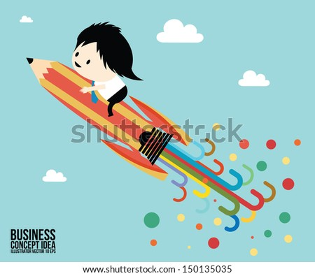 Abstract Pencil rocket concept idea, Businessman - stock vector