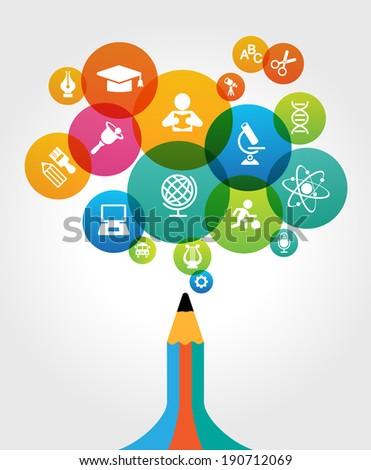 Abstract pencil with colored circles and education icons. Concept of modern education. File is saved in AI10 EPS version. This illustration contains a transparency   - stock vector