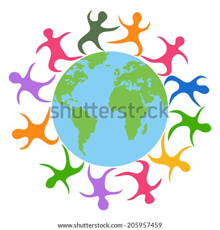 abstract people around the world - stock vector