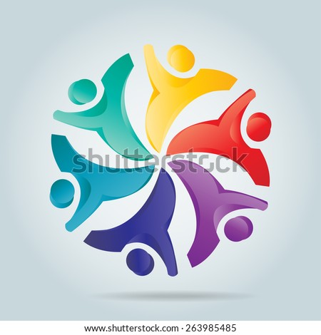 Abstract people, children or kids together, love, unity, solidarity, alliance, union, teamwork, organization, together, group, team, harmony - stock vector