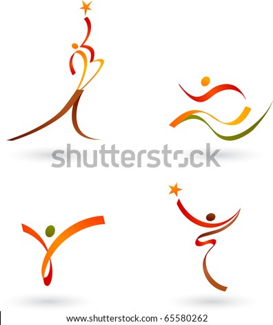 Abstract people outlines - stock vector