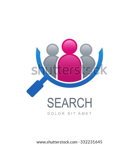 Abstract people silhouette in magnifier shape. Vector logo template. Design concept for search for employees and job, business, human resource and professional headhunting, social network. - stock vector