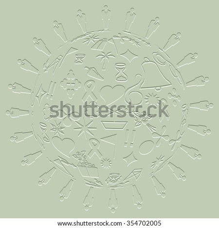 abstract people with icon ball pattern background