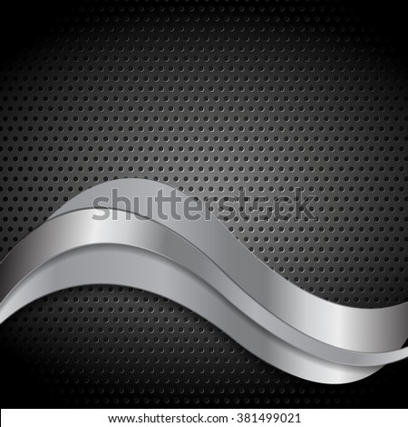 Abstract perforated metal texture with silver waves. Vector template design - stock vector