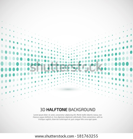 Abstract perspective background with halftone - stock vector
