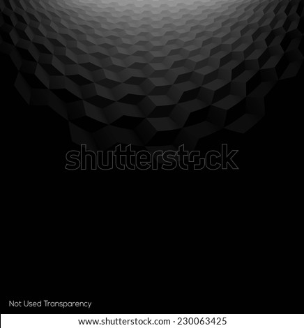 Abstract perspective black background with 3d cubes - stock vector