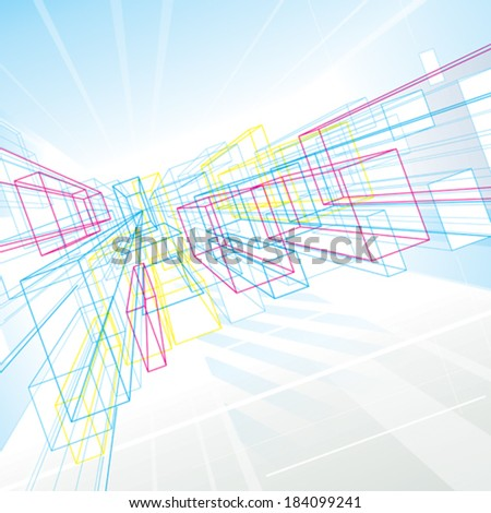 Abstract perspective lines drawing background for architecture or interior.   - stock vector