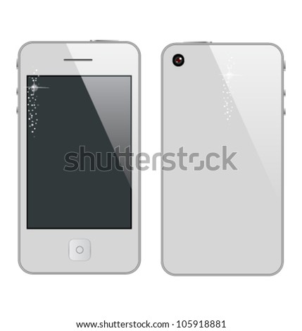 abstract phone symbol white color - stock vector