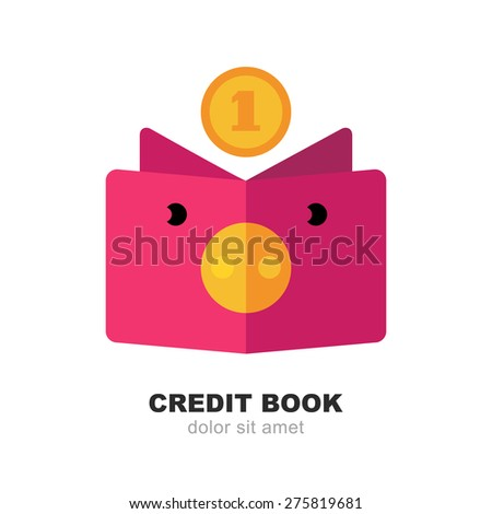 Abstract pig moneybox, book and fall coin. Vector logo design template. Modern flat concept for credit, money change, deposit, investment, bank, business.  - stock vector