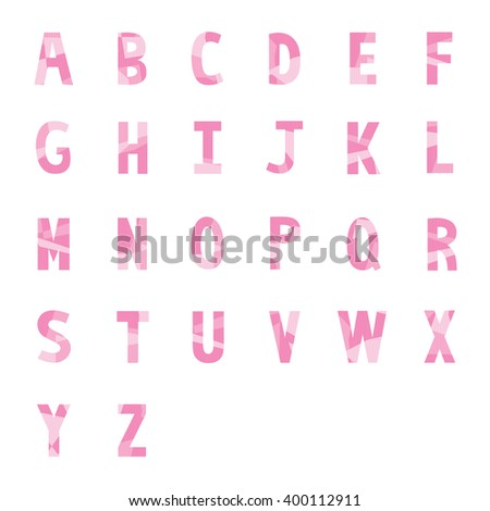 Abstract pink alphabets A to Z for design.