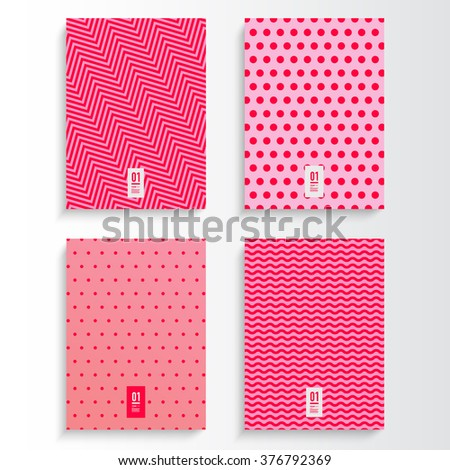 Abstract pink and magenta flyer or book cover design set with different geometric pattern background and your text Eps 10 stock vector illustration  - stock vector