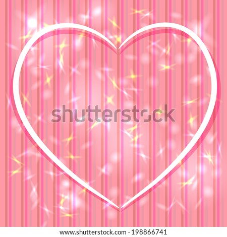 Abstract pink background with stripes, light glare. Heart. Valentine's day card. vector - stock vector