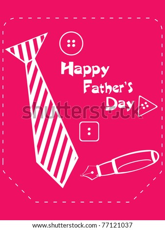 abstract pink background with tie, button and pen - stock vector