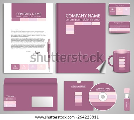 Abstract pink business style (corporate identity) template 7: blank, card, pen, cd, note-paper, envelope, flash memory - stock vector