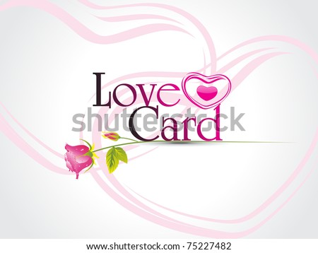 abstract pink heart shape love card with pink rose - stock vector