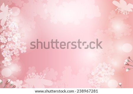 Abstract pink plants and flowers background. Cherry sakura flowers and textspace in center. EPS 10 format. - stock vector