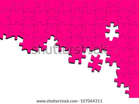 Abstract pink puzzle vector background with place for your content - stock vector