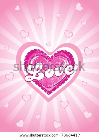abstract pink rays, macro heart background with isolated big pink heart