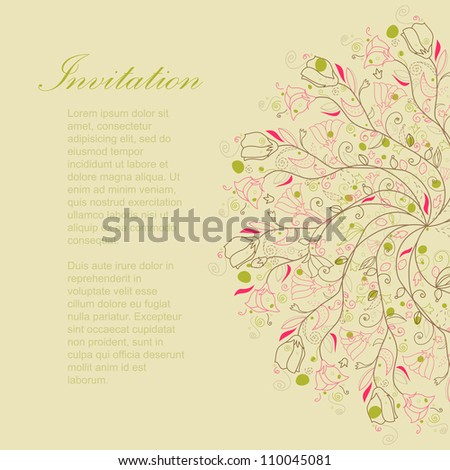 Abstract pink retro floral hand drawing background with text for beautiful cute card, invitation, wedding frame, pop art illustration, colorful wallpaper, baby postcard, color greeting, vector eps 8 - stock vector