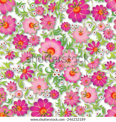 abstract pink seamless spring floral ornament and shadow on white background - stock vector