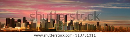 abstract pink sky background with panorama of city - stock vector