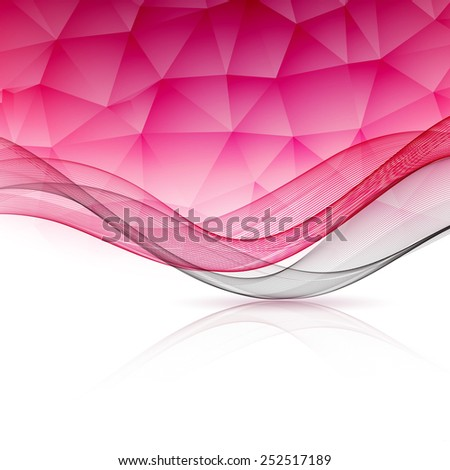 Abstract pink template background with wave and low poly.  Brochure design - stock vector