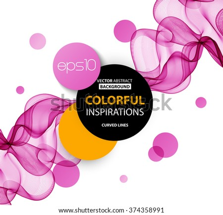 Abstract pink wavy lines.  Colorful vector background - stock vector