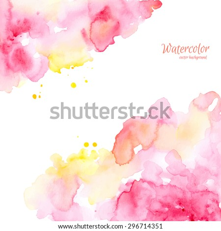 Abstract pink yellow hand drawn watercolor background,vector illustration. Watercolor composition for scrapbook elements. Watercolor shapes on white background. - stock vector