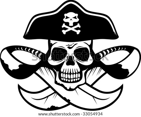 Abstract pirate symbol with skull, crossbones and swords in vector format black and white - stock vector