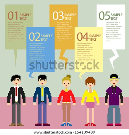 abstract pixel people infographic elements - stock vector