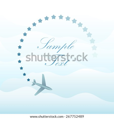 Abstract plane in the sky vector background with copy space. - stock vector