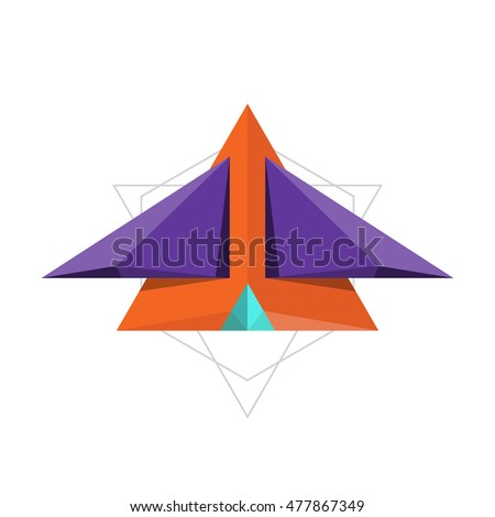 abstract plane paper fold design, polygon vector illustration
