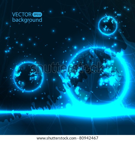 Abstract planet background - stock vector