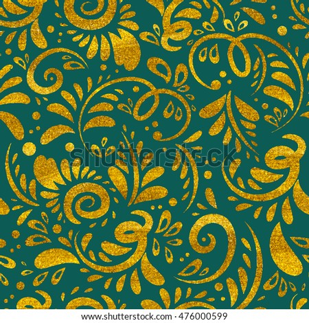 Abstract plant vector golden seamless pattern. Floral texture