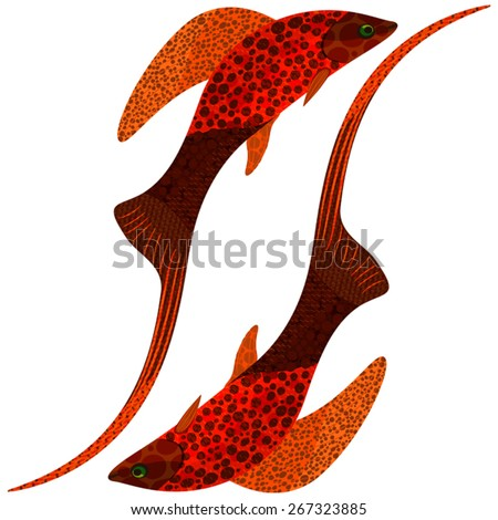 Abstract play red tropical fish, EPS10 - vector graphics. - stock vector