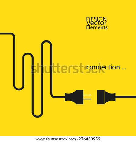 abstract plug connection. yellow background with a black symbols - stock vector