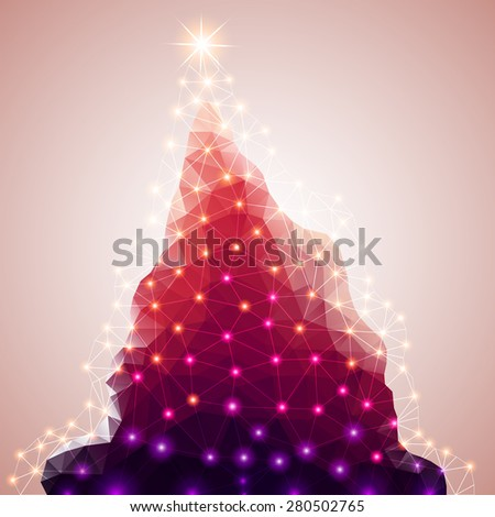 Abstract polygon.Christmas tree.vector illustration - stock vector