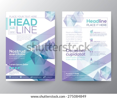 Abstract polygon design vector template layout for magazine brochure flyer booklet cover annual report in A4 size - stock vector