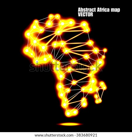 Abstract polygonal Africa map with glowing dots and lines, network connections. Vector illustration. Eps 10 - stock vector