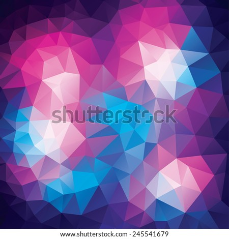 Abstract polygonal background from colorfull triangles in geometrical lines - stock vector
