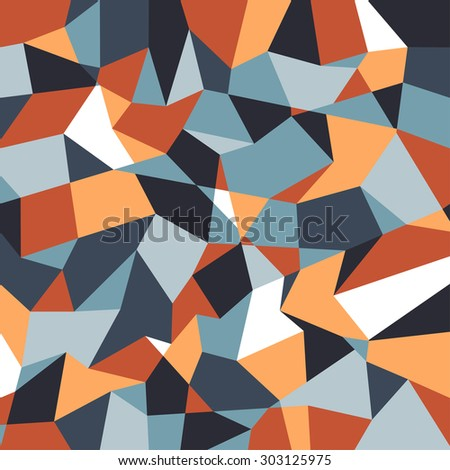 Abstract polygonal background. Geometric pattern. Vector backdrop. Autumn abstract. Orange and blue back. - stock vector