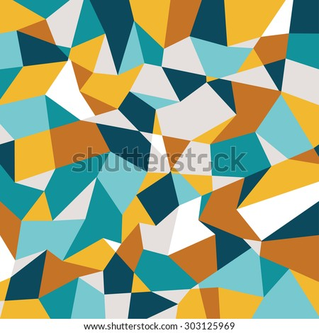 Abstract polygonal background. Geometric pattern. Vector backdrop. Gold and blue backdrop. Autumn abstract. - stock vector