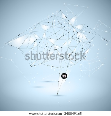 Abstract Polygonal Background. Geometric Shape. Vector Science Concept. Connecting Dots and Lines Structure - stock vector