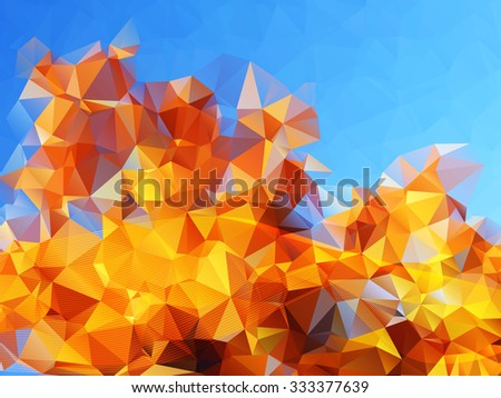 Abstract polygonal background with bright blue sky and golden autumn tree foliage. Suitable for autumn templates and web. Vector, EPS 10 - stock vector