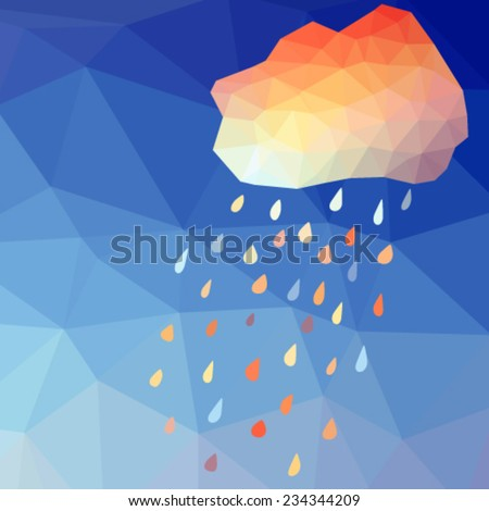 abstract polygonal background with rain drops and multicolored cloud. Vector, EPS 10 - stock vector